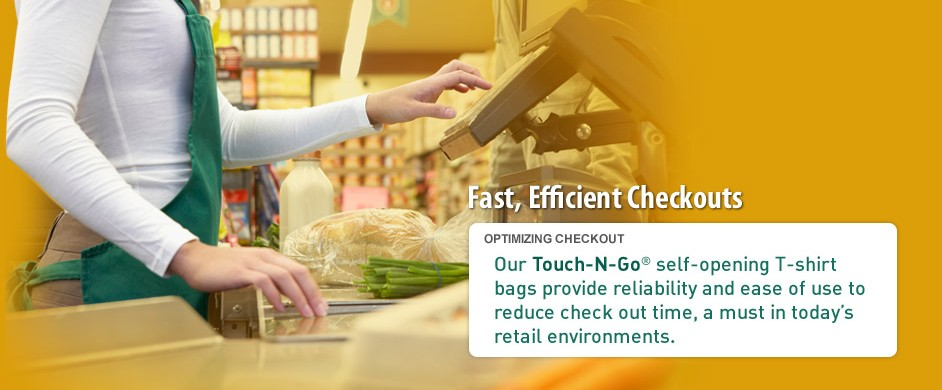 API T-shirt bags are self-opening for reducing checkout time.